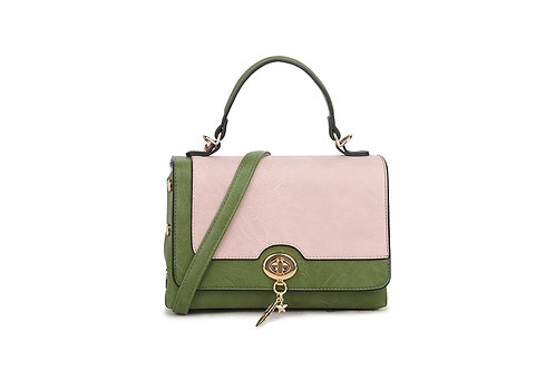 Hollywood Renaissance  box bag in soft faux leather in Green/Nude.
