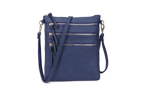 Versatile Crossbody square bag in soft faux leather Navy.