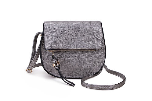 Classic Crossbody bag in soft faux leather in Silver.