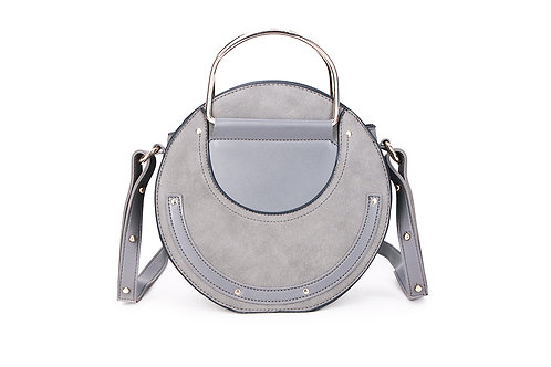 Faux Suede and leather Circular bag in Light Grey.