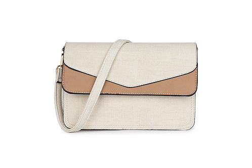 Envelope Cross Body Bag in cream beige and taupe.