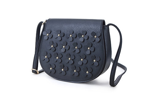 Faux Leather Crossbody bag with floral embellishment in Black.