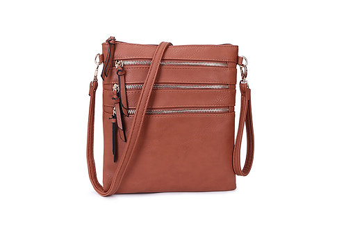 Versatile Crossbody square bag in soft faux leather Brown.