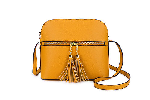 Gorgeous shoulder or cross-body bag with tassels in Mustard.