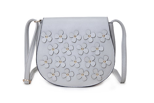 Faux Leather Cross body bag with floral embellishment in Light Grey