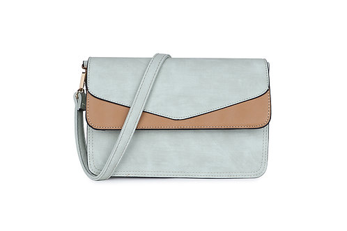 Envelope Cross Body Bag in mint green and taupe.