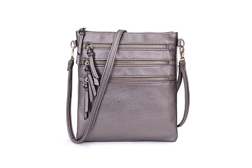 Versatile Crossbody square bag in soft faux leather Silver Grey.