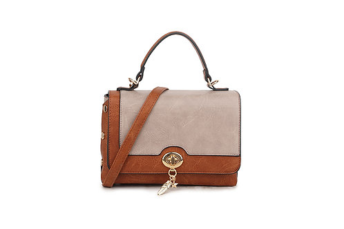 Hollywood Renaissance  box bag in soft faux leather in Beige / Tan.