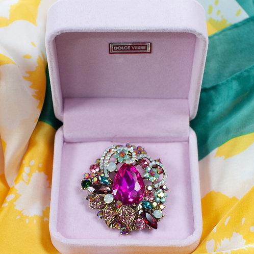 Luxury Gift Boxed Zirconia stoned Brooch Multicoloured