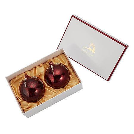 0383 Red & Pearl 14cm Rounbd Bauble Pair