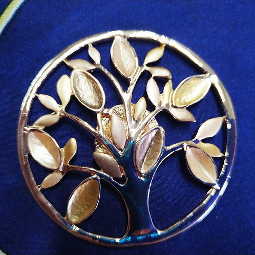 Cool magnetic Tree of life brooch with in Rose Gold .