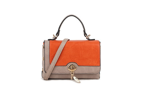 Hollywood Renaissance  box bag in soft faux leather in Orange/Beige.