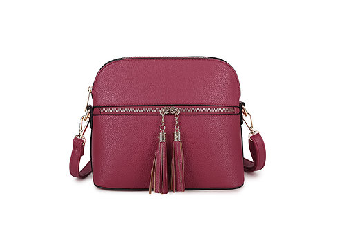 Gorgeous shoulder or cross-body bag with tassels in Plum.