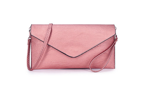 Classic Envelope Clutch Cross body or wrist strap. Metallic Pink.
