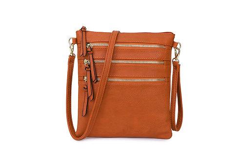Versatile Crossbody square bag in soft faux leather Orange.