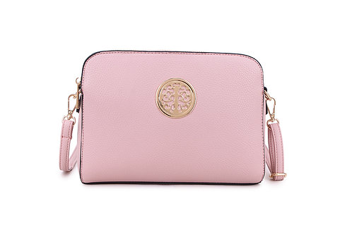 Cool Faux Leather Crossbody bag Gold Logo in Blush Pink.