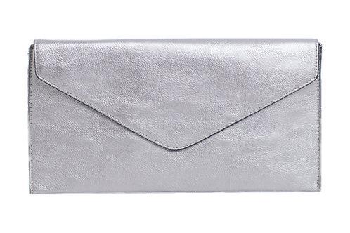 Classic Envelope Clutch Crossbody or wrist strap. Metallic Silver.