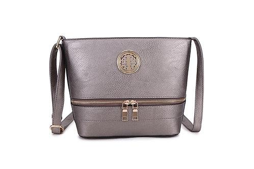 Elegant Designer Faux Leather Shoulder / Crossbody Bag in Bronze.