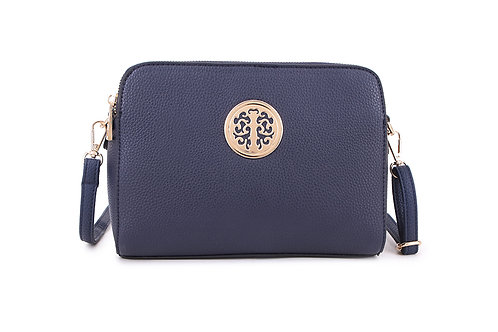 Cool Faux Leather Crossbody bag Gold Logo in Navy Blue