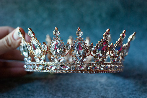 Jewelled Gold Crown in Clear Diamante