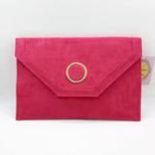 Red luxury suede evening clutch bag.