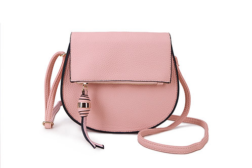 Classic Crossbody square bag in soft faux leather in Blush Pink.