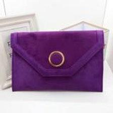 Purple luxury suede evening clutch bag.