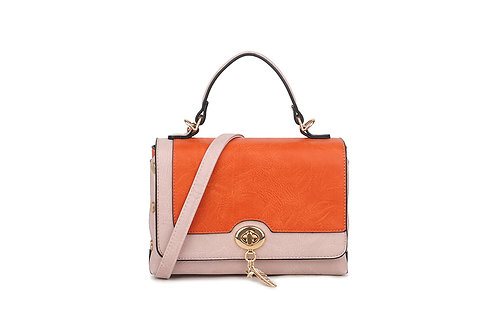 Hollywood Renaissance  box bag in soft faux leather in Orange and Blush Pink
