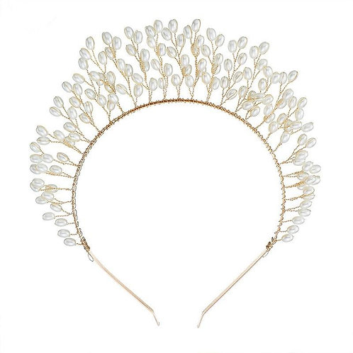 Leaf Hair Band in Rose Gold and Pearls.