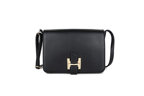 Luxury Faux Leather Cross body bag Gold Logo clasp in Black.