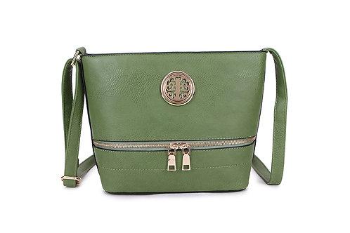 Elegant Designer Faux Leather Shoulder / Crossbody Bag in Green.