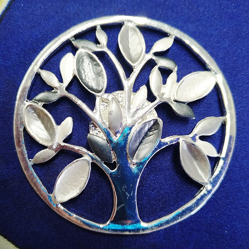 Cool magnetic Tree of life brooch with in Silver .