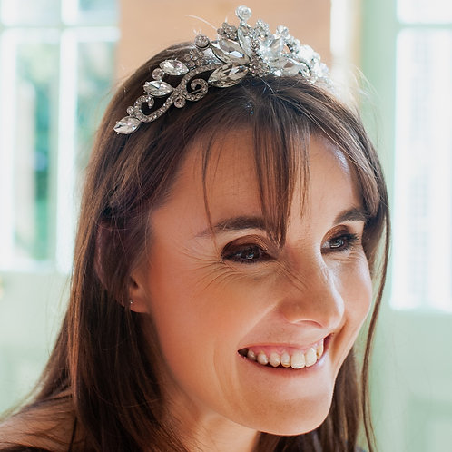 Jewelled Silver Tiara with Clear Diamante Setting.