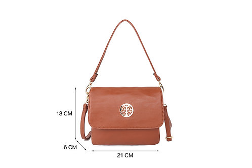 Cross-body / Shoulder bag with short handle also in Tan.