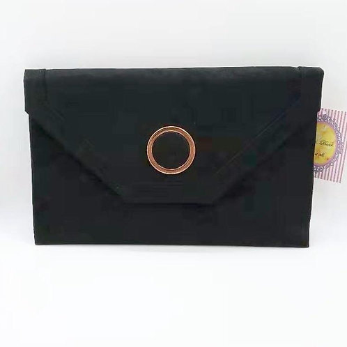Classic Black luxury suede evening clutch bag.