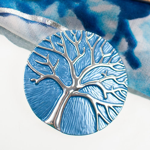 Cool magnetic Tree of life brooch with in Blue and silver.