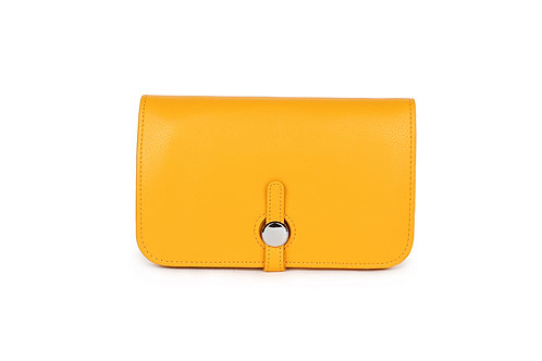 Unique purse to hold phone with detachable coin / card holder Mustard