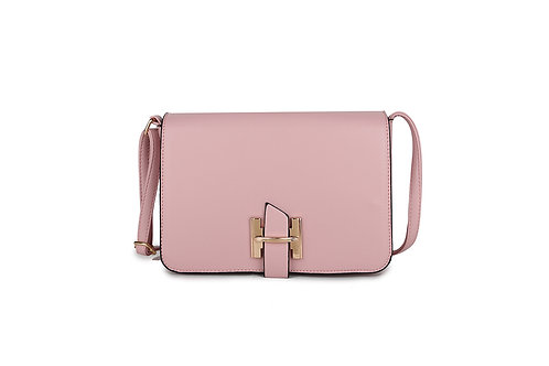 Luxury Faux Leather Cross body bag Gold Logo clasp in Blush Pink.