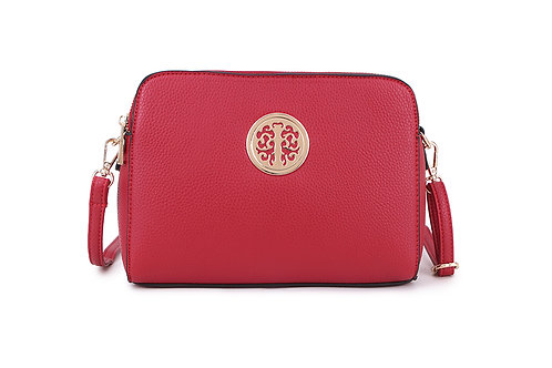 Cool Faux Leather Crossbody bag Gold Logo in Cardinal Red
