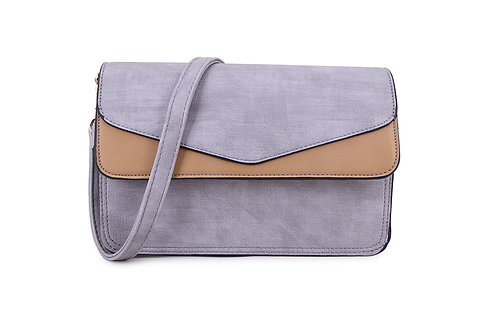 Envelope Cross Body Bag in grey and taupe.