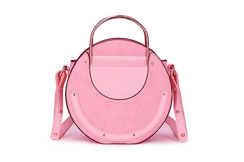 Faux Suede and leather Circular bag in Blush Pink ( Nude).