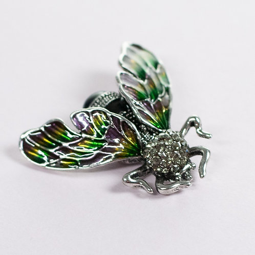 Cool magnetic Wasp brooch with in Green and silver.