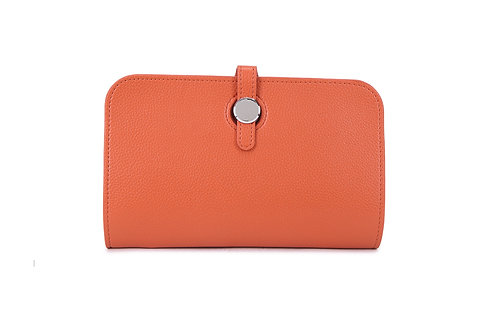 Unique purse to hold phone with detachable coin / card holder. Orange