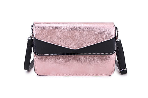Envelope Cross Body Bag in Patent Pink and Black.