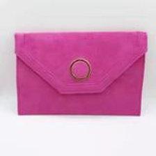 Cerise luxury suede evening clutch bag.
