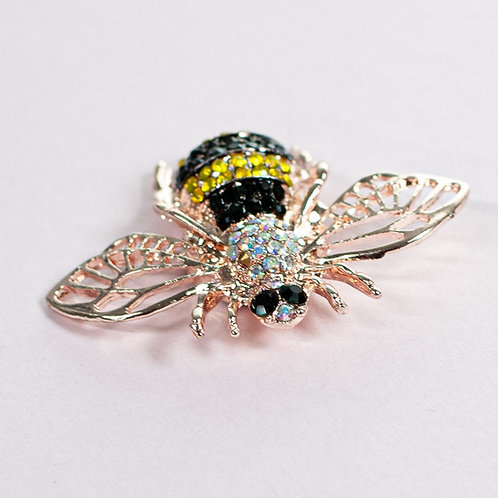 Cool magnetic Bumble Bee brooch with in Rose Gold Black and Amber