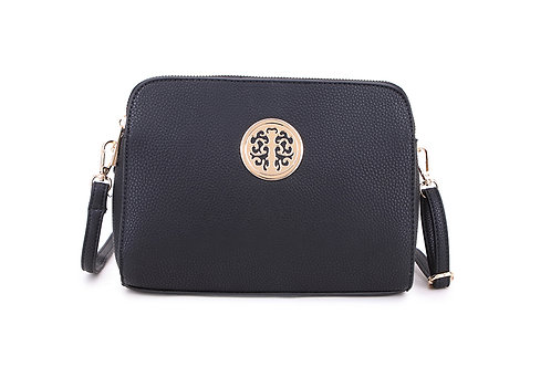 Cool Faux Leather Crossbody bag Gold Logo in Classic Black.