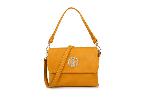 Cross-body / Shoulder bag with short handle also in Mustard.
