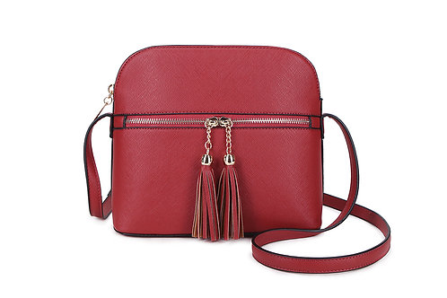 Gorgeous shoulder or cross-body bag with tassels in Red.