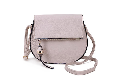Classic Crossbody square bag in soft faux leather in Grey.